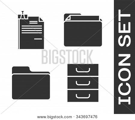 Set Drawer with documents, File document and binder clip, Document folder and Document folder icon. Vector stock photo