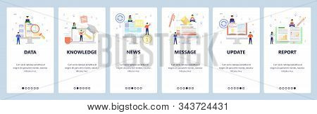 Business icons, data search, online book, news, financial report. Mobile app onboarding screens. Menu vector banner template for website and mobile development. Web site design flat illustration stock photo