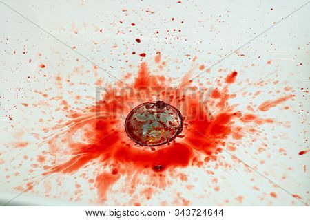 Many blood dripping into the washbasin in the bathroom, bloody and  sink stock photo