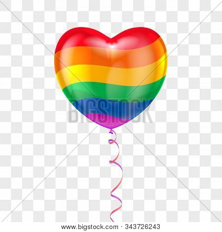Realistic heart shape air balloon with lace on transparent background and Flag of a gay pride. Vector valentines day holiday, wedding or romantic dating symbol. Birthday, anniversary party celebration stock photo