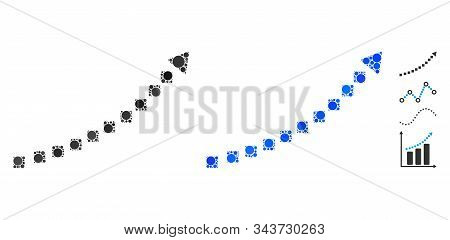 Dotted growth trend composition of round dots in different sizes and color tints, based on dotted growth trend icon. Vector round dots are united into blue composition. stock photo