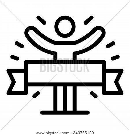 Finish ribbon marathon icon. Outline finish ribbon marathon vector icon for web design isolated on white background stock photo