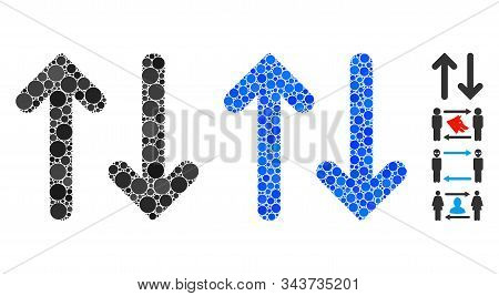 Flip vertical composition of circle elements in various sizes and color tints, based on flip vertical icon. Vector circle elements are grouped into blue illustration. stock photo