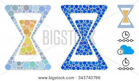Sand clock composition of round dots in various sizes and color tones, based on sand clock icon. Vector dots are united into blue composition. Dotted sand clock icon in usual and blue versions. stock photo