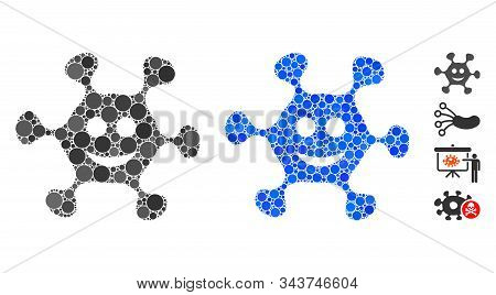 Happy microbe composition of filled circles in various sizes and color tones, based on happy microbe icon. Vector filled circles are united into blue composition. stock photo