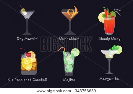 Set of vector alcohol bar drinks - mojito, manhattan cocktail, Bloody Mary, old fashioned and Margarita cocktails with Dry Martini, isolated on black background stock photo