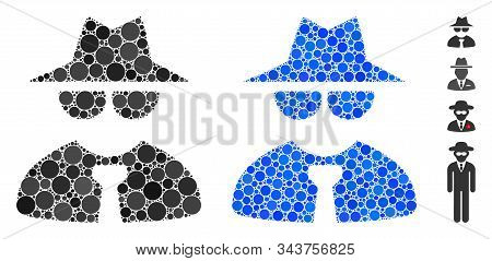 Mafia boss mosaic of filled circles in different sizes and shades, based on mafia boss icon. Vector small circles are organized into blue mosaic. Dotted mafia boss icon in usual and blue versions. stock photo
