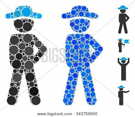 Gentleman audacity mosaic of small circles in variable sizes and color tinges, based on gentleman audacity icon. Vector random circles are composed into blue mosaic. stock photo
