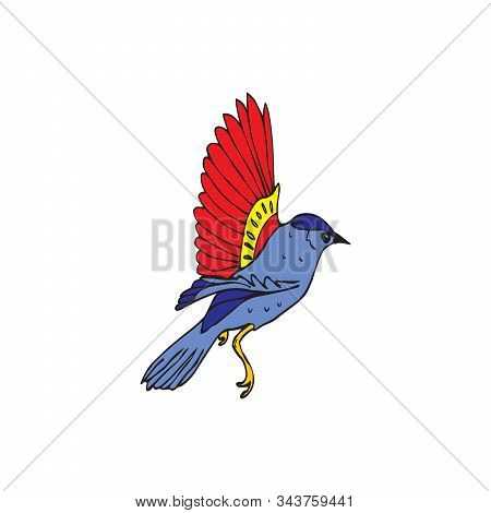Blue bird with red wings, Stock vector illustration isolated on white background. stock photo