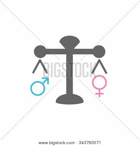 Concept Balance feminine and masculine icon flat design. Libra man snd woman icon. Stock vector illustration isolated on white background. stock photo
