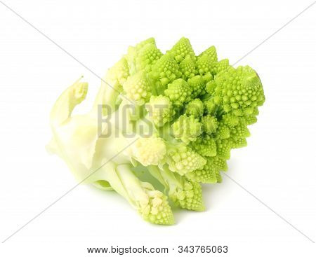Romanesco broccoli isolated on white background. Roman cauliflower stock photo