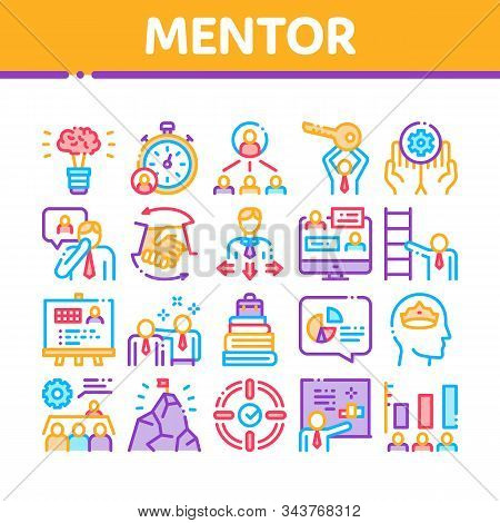 Mentor Relationship Collection Icons Set Vector Thin Line. Human Holding Key And Gear, Stopwatch And Mountain With Flag, Mentor Concept Linear Pictograms. Color Contour Illustrations stock photo