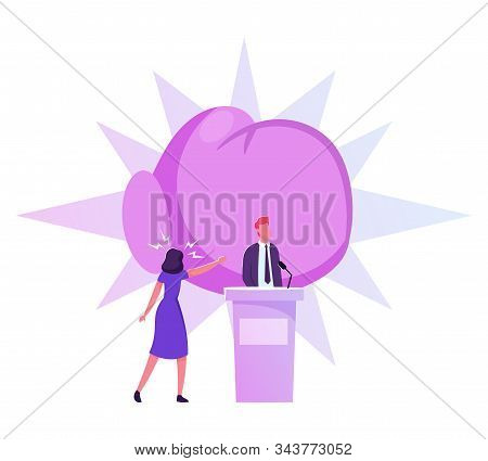 Politics Debate, Voting and Election Concept. Pre-election, Promotion and Advertising Campaign. Candidate Debating on Tribune to Audience, Active Political Discussion Cartoon Flat Vector Illustration stock photo