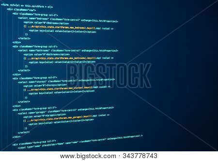 Javascript lines of code for website application. Script language for software development. Source code. React Coding. Frontend code stock photo