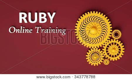 3d rendering of advertising banner for Ruby Online Training with composition of yellow interlocking gears on ruby background. Concept of Ruby programming language online learning stock photo