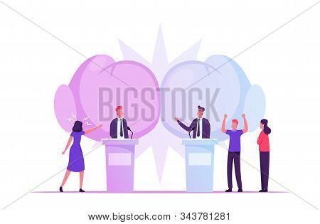 Political Debates, Pre-election Campaign Voting Process, Candidates Stand on Tribunes for Promotion and Advertising Interview, Active Political Discussion, Debating, Cartoon Flat Vector Illustration stock photo