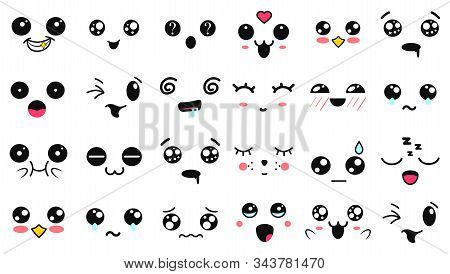 Kawaii cute faces. Manga style eyes and mouths. Funny cartoon japanese emoticon in in different expressions. Expression anime character and emoticon face illustration. Background, Wallpaper. stock photo