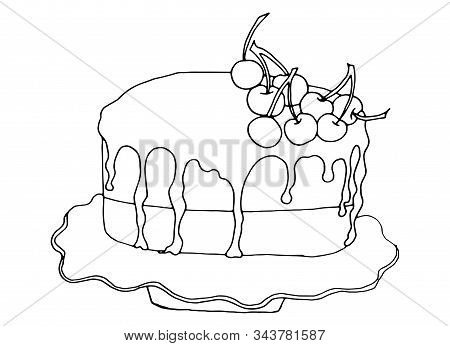 Cherry chocolate cake icon. Isometric of cherry chocolate cake vector icon for web design isolated on white background.Hand-drawn vector illustration isolated on white background.Vector illustration for badge, logo, sticker, print. stock photo
