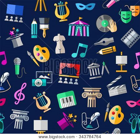 Culture and art, seamless background, color, blue, vector. Leisure and cultural centres. Cultural events and the attributes of art. Colored icons on a dark blue field. Vector picture. stock photo