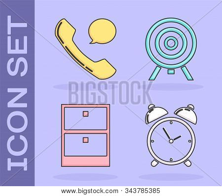 Set Alarm clock, Telephone handset and speech bubble chat, Archive papers drawer and Target icon. Vector stock photo