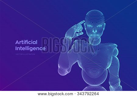 Abstract wireframe female cyborg or robot holds a finger near the head and thinks or computes using her artificial intelligence. AI and Machine learning technology concept. Vector illustration. stock photo