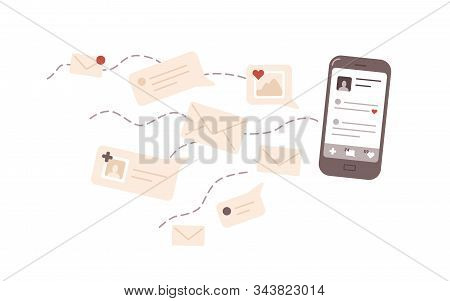 Online communication flat vector illustration. Correspondence, social network activity. E mail, message, notification, popularity on internet. Smartphone and letters isolated on white background. stock photo