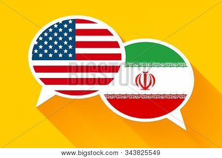 Two speech bubbles with USA and IRAN flags stock photo