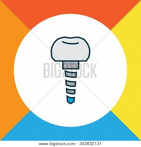Dental implant icon colored line symbol. Premium quality isolated implantation element in trendy style. stock photo