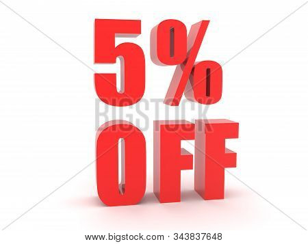 3D Red text saying 5 Percent off. 3D Rendering isolated on white. stock photo