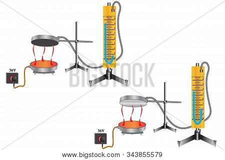 Physical experiment - energy emission from an electric stove, a manometer displays the expansion of air, black bodies absorb energy better. stock photo