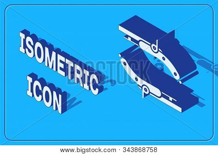 Isometric Vintage pistols icon isolated on blue background. Ancient weapon. Vector Illustration stock photo