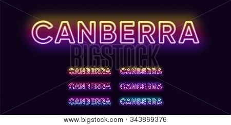 Neon Canberra name, capital city in Australia. Neon text of Canberra city. Vector set of glowing headlines with transparent backlight. Bright gradient colors stock photo