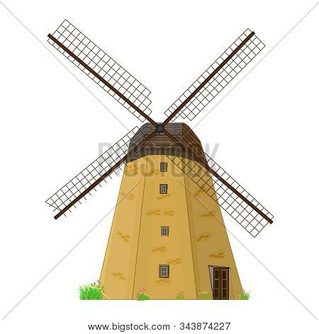 Windmill isolated on white background. Traditional rural house mill with propeller. Old windmill building. Cartoon flat ancient medieval building. Ecology, wind renewable energy, farming. Vector stock photo
