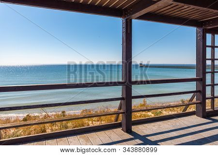 Seaside promenade in the city of Hel with a view of the Baltic Sea. Poland stock photo