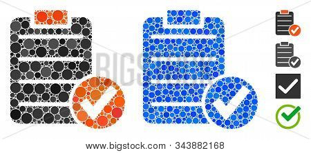 Apply form composition of round dots in variable sizes and color tones, based on apply form icon. Vector round dots are combined into blue mosaic. Dotted apply form icon in usual and blue versions. stock photo