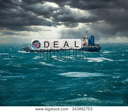 Global trading with container ship carrying Brexit deal concept for December 2020 if no trade deal with EU happens and no deal exit results stock photo