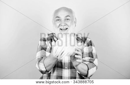 Elderly people. Bearded grandfather grey hair. Hair loss. Man losing hair. Artificial hair. Health care concept. Male pattern baldness genetic condition caused by variety factors. Early signs balding stock photo