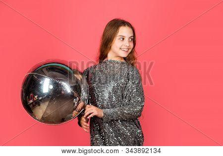 Amazing day with full of fun. Birthday girl. Happy child celebrate birthday. Small kid hold air balloon. Birthday anniversary celebration. Enjoying birthday party, copy space stock photo