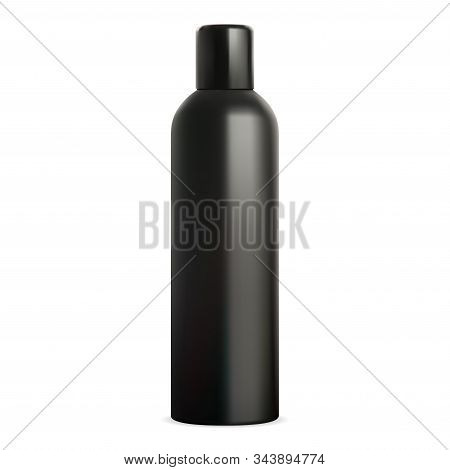 Spray tin mockup. Black deodorant bottle can. Air freshener cylinder packaging. Hair paint aerosol design. Antiperspirant aluminum container template. Metal tube blank template. Toilet sprayer stock photo