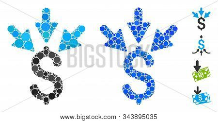 Aggregate payment composition of round dots in various sizes and color tinges, based on aggregate payment icon. Vector round dots are grouped into blue collage. stock photo
