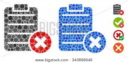 Cancel test composition of round dots in different sizes and shades, based on cancel test icon. Vector dots are united into blue composition. Dotted cancel test icon in usual and blue versions. stock photo