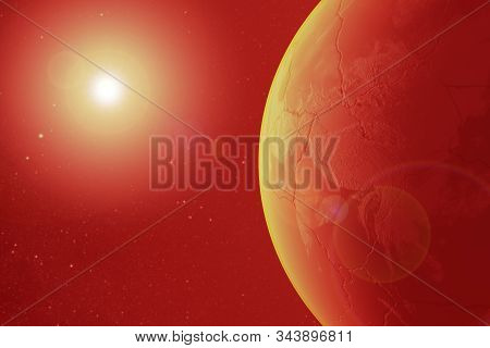 Apocalypse, Armageddon, dead planet earth scorched by the sun,Elements of this image are furnished by NASA stock photo