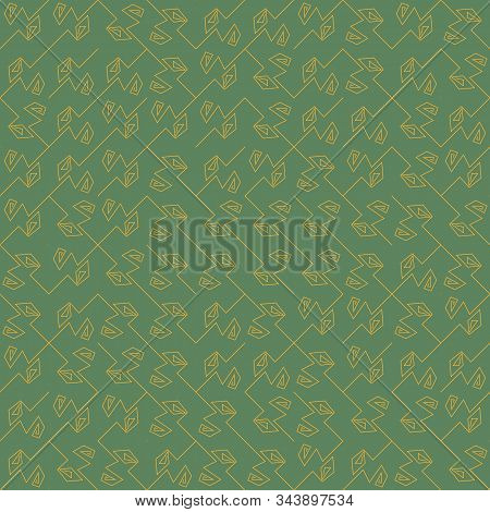 A seamless vector abstract pattern with angled yellow lines on a green background. Unisex geometric surface print design. stock photo