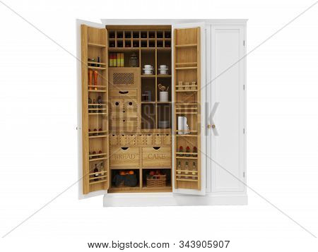 3D rendering wooden organizer cabinet for appliances in the kitchen front view on white background no shadow stock photo