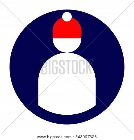 Icon for the application or site with the image of the user in red winter hat symbol stock photo