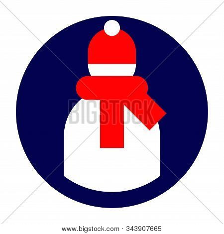 Icon for the application or site with the image of the user in red winter hat and with red scarf symbol stock photo