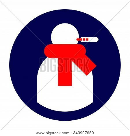 Icon for the application or site with the image of the sick user in red winter scarf and with thermometer symbol stock photo