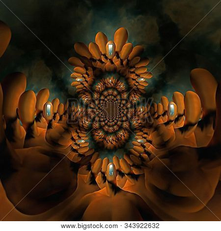Faceless crowd. Surreal fractal art. 3D rendering stock photo