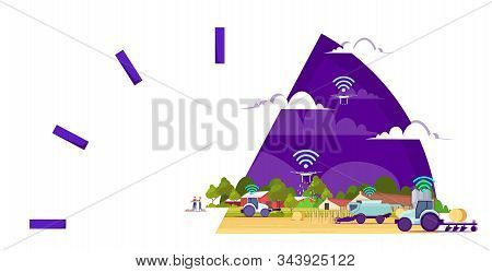smart farm with drones tractors combine harvester 5g wireless internet connection automation farming concept innovation technology agricultural company horizontal vector illustration stock photo