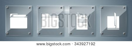 Set File document, File document and binder clip, Document folder and Document folder. Square glass panels. Vector stock photo